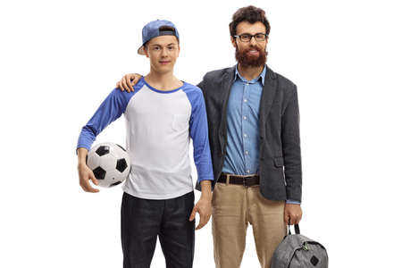 Bearded man and a teenager with a football isolated on white background