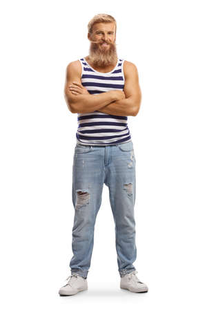 Cheerful blond guy with moustaches wearing a striped vest top isolated on a white background