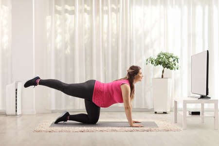 Pregnant woman exercising in front of a tv at home Reklamní fotografie