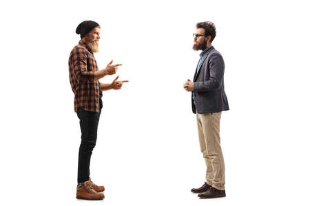 Full length profile shot of two bearded men standing and talking isolated on white background