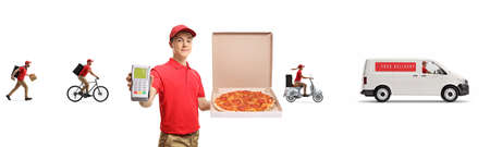 Pizza delivery boy with a credit card terminal and other workers and delivery van in the back isolated on white background