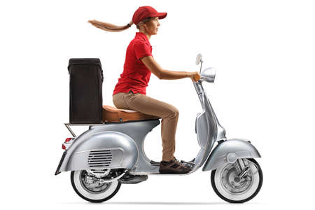 Female courier delivering food with a motorbike scooter isolated on white background