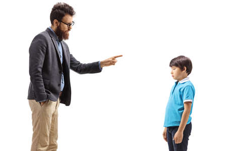 Bearded man scolding a boy isolated on white background