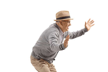 Elderly man smiling and spreading arms isolated on white background