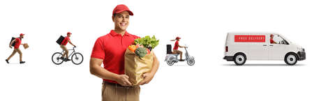 Male worker from a food delivery company with other workers and a van isolated on white background