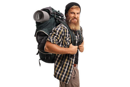 Cheerful hiker with a backpack smiling isolated on white background