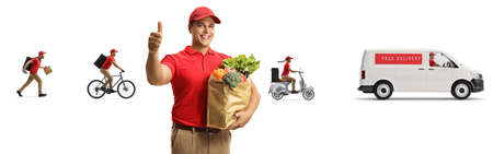 Courier with a bag of groceries from a food delivery company with other workers and a van isolated on white background Reklamní fotografie