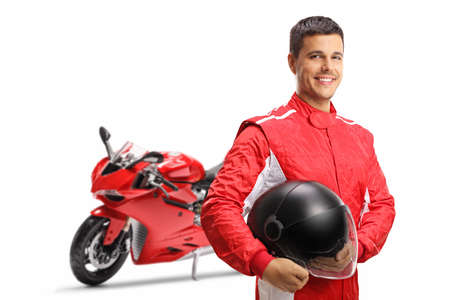 Motorbike racer with a helmet smiling at the camera isolated on white background