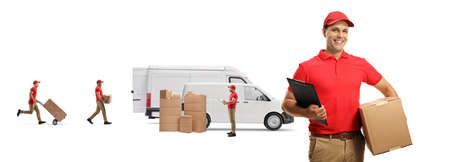 Workers loading boxes into transport vans isolated on white background Stockfoto