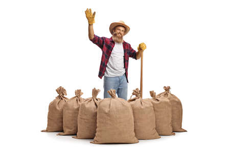 Young bearded farmer with a shovel standing behind burlap sacks and waving at camera isolated on white background