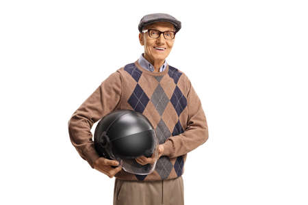 Elderly man with holding a helmet isolated on white background