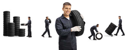 Auto mechanic workshop with men carrying car tires isolated on white background