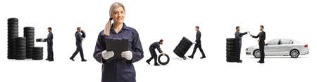 Female mechanic and workers carrying car tires isolated on white background