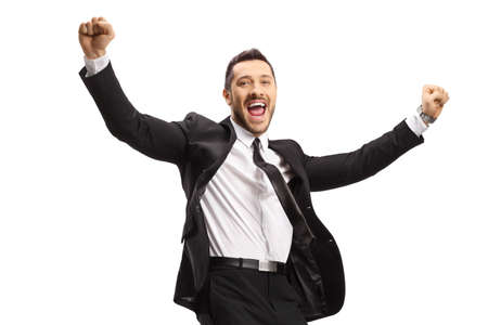 Businessman jumping in excitement isolated on white background