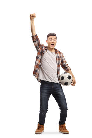 Guy holding a football, watching a match and shouting isolated on white background