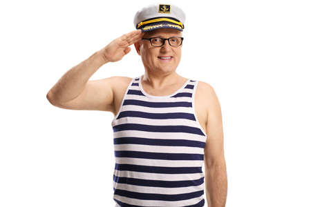 Mature sailor captain greeting with hand on his head isolated on white background Banco de Imagens