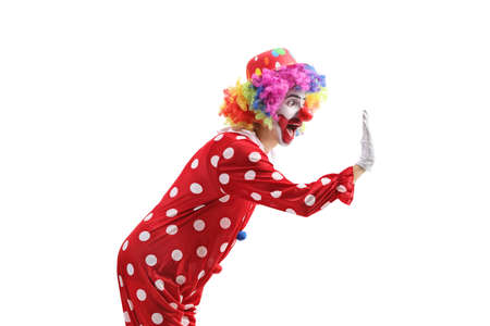Happy cheerful clown gesturing high-five isolated on white background