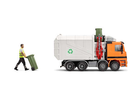 Full length profile shot of a waste collector pushing a bin towards a garbage truck isolated on white background