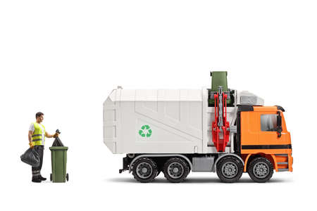 Garbageman with a trash truck emptying a bin isolated on white background