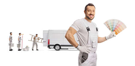 Workers from a house painting company with a color palette and a van isolated on white background