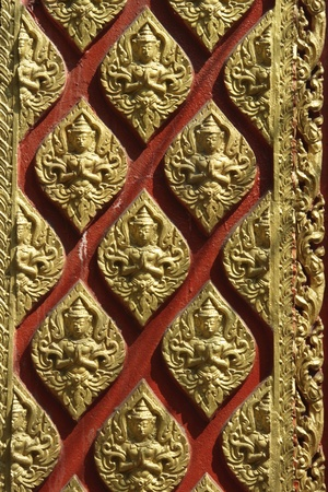 Angel art image temple doors Thai photo