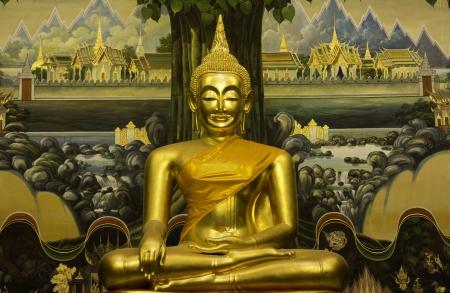 Buddha in a Buddhist temple Wat Rai Khing Sampran, Nakhon Pathom Province photo