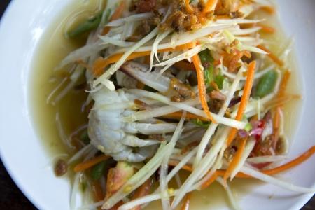 papaya salad with horse crab ,Somtum Thai Food  photo