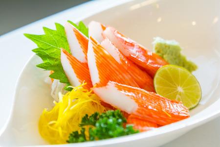 crabmeat: Kani Sashimi Kani Sashimi.Imitation crabmeat  Traditional japanese food.