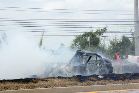 news current events: NAKHON PATHOM THAILAND 24 May 12:46 P.M. :  The car fire due to gas explosion. Be car crash. This makes all the damaged on the car and driver died. on May 242015 in nakhon pathom provincethailand