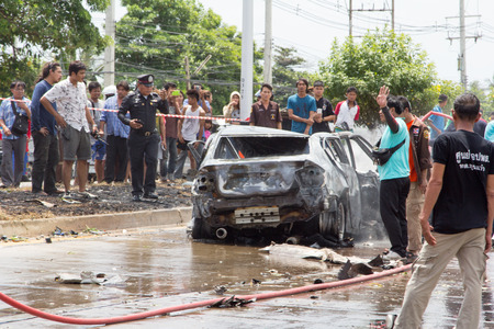 nakhon pathom: NAKHON PATHOM THAILAND 24 May 12:46 P.M. :  The car fire due to gas explosion. Be car crash. This makes all the damaged on the car and driver died. on May 242015 in nakhon pathom provincethailand