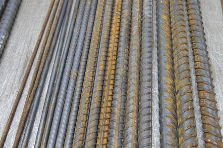 to bend: Steel deform bar reinforcement tag for test. Stock Photo