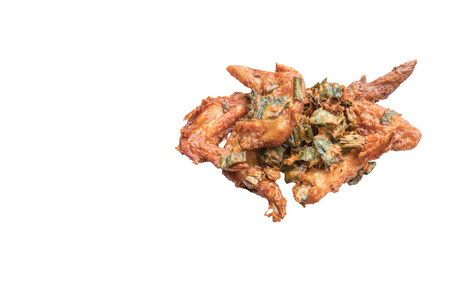 Fried marinated chicken wrapped in pandan leaf isolate on white background with copy space for text.