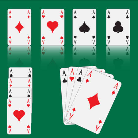 Four aces on green table Vector