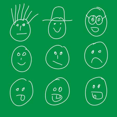 cordialit�: Smiley tratte da bambino Vettoriali