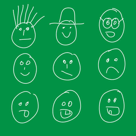 Smileys drawn by child Vector