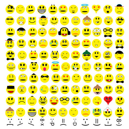 over one hundred different emoticons Vector