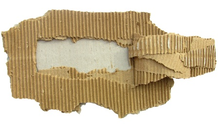 Image of torn cardboard piece isolated on white photo