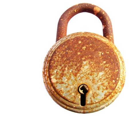 Image of rusted iron lock isolated on white background Stock Photo - 13415751