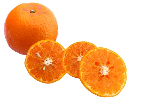 Fresh juicy oranges, half cut and whole isolated in white background Stock Photo - 15882165