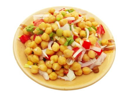 gram: Salad prepared with chickpea  Cicer arietinum  also called Bengal gram rich in protein and dietary fiber