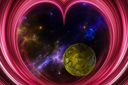 Illustration of an abstract  view of the Universe through a pink heart shaped   illustration