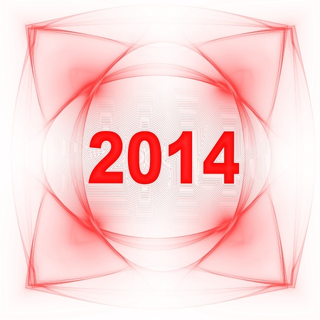 two thousand and fourteen:  design of year 2014 with abstract background in pink color