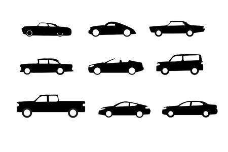 白で隔離される車のシルエット