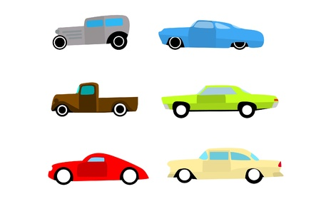 car side view: Hot rod color cars