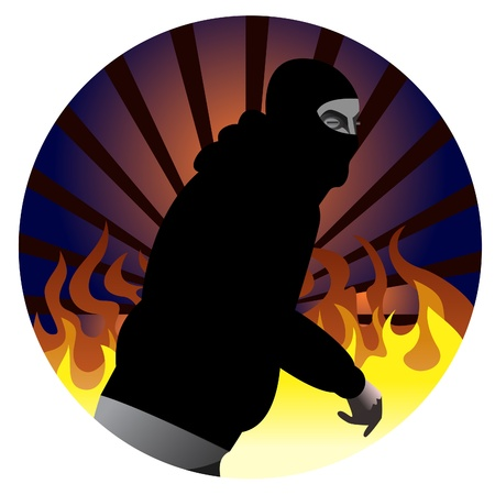 judgement day: Riot participant illustration with fire in the background