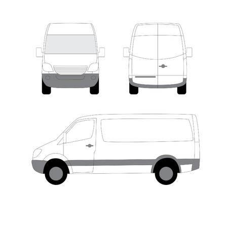 delivery van: White delivery van three view angles Illustration