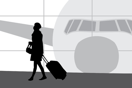Woman walking in airport sihouette Vector