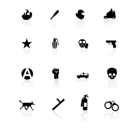 Black riot icons Stock Vector - 11288047