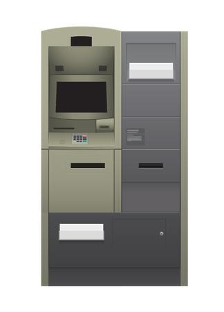 Automatic teller machine illustration isolated on white.