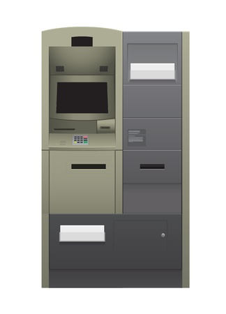 teller: Automatic teller machine illustration isolated on white.